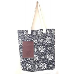 Vegan / Cruelty  Free Cotton Tote Bag / Shopping Bag - Black & White Abstract Floral Design - Fair Trade