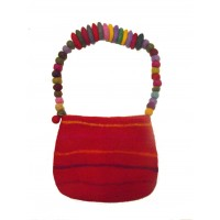 Fair Trade Hand Made Lovely Tactile Red Striped Felt Hand Bag / Shoulder Bag