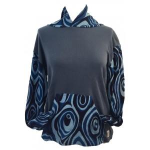 Fair Trade Blue Jersey Cotton Retro Spiral Ladies Hoodie