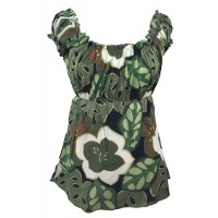 Lovely Green/ White Floaty Bold Floral Print Emily Blouse -  On the shoulder or off the Shoulder - Fair Trade 100% Cotton