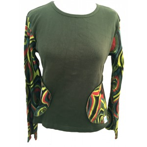 Fair Trade Green Jersey Cotton Retro Spiral Ladies Long Sleeve Top