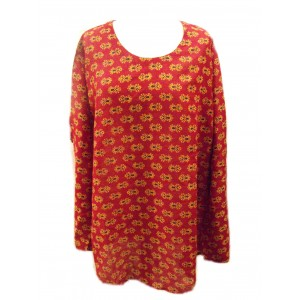 Baggy Maroon Pretty Blockprint Cotton Maternity Blouse - Fair Trade