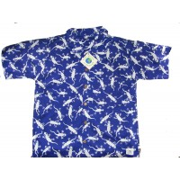 Boys Blue & White Gecko Design Short Sleeve Shirt Ages 1 - 5 - Fair Trade