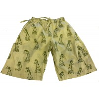 Kids 3/4 Length Sandy Giraffe Design Trousers  Ages 1 - 5 - Fair Trade