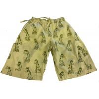 Kids 3/4 Length Sandy Giraffe Design Trousers  Ages 1 - 5 - Fair Trade