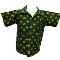 Boys Lime Green and Dark Green Classic Frog Design Short Sleeve Shirt Ages 1 - 5 - Fair Trade