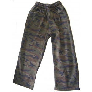 Kids Green Brown Woodland Camouflage Cotton Trousers Ages 5 - 10 - Fair Trade