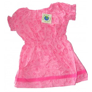100% Cotton Classic Pink Strawberry Print  Little Girls Summer Dress - Fair Trade