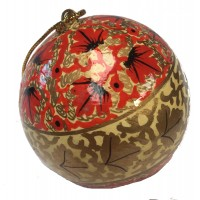 Large Kashmiri  Lacquerware Bauble Christmas Tree Decoration - Many Different Designs -Beautiful Fair Trade Handpainted