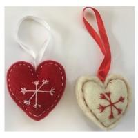 Fair Trade Felt Red & White Heart Christmas Decorations - Set of 2