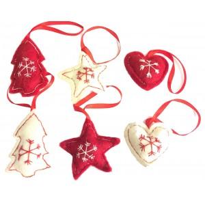 Fair Trade Felt Red & White Christmas Tree Decorations - Set of 6
