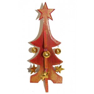 Fair Trade Festive Red Wooden Christmas Tree Tabletop Decorations