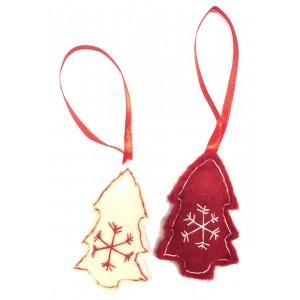 Fair Trade Felt Red & White Christmas Tree Decorations - Set of 2