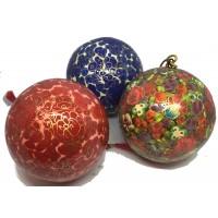 Set of 3 Large Kashmiri  Lacquerware Bauble Christmas Tree Decoration - Beautiful Fair Trade Handpainted