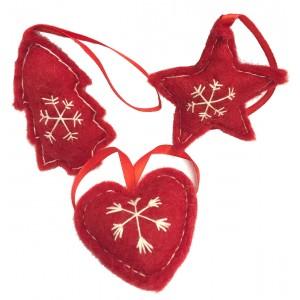 Fair Trade Felt Red & White Christmas Tree Decorations - Set of 3