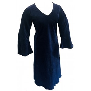 Royal Blue Vintage Velvet V Neck Party Dress - Fair Trade