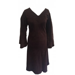 Chocolate Brown Vintage Velvet V Neck Party Dress - Fair Trade