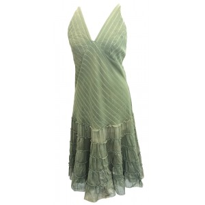 Classic Army Green Indian Cotton Maria Midi Length Summer Sun Dress - Fair Trade 100% Cotton