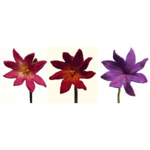 Beautiful handmade set of 3 mixed medium chrysanthemum felt flowers - fair trade