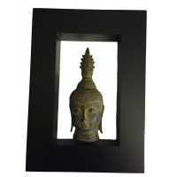 Bronze Antique Effect Sukhothai Buddha Head in a Contemporary Matt Black Frame - Fair Trade