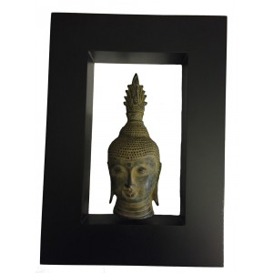 Bronze Antique Effect Sukhothai Buddha Head in a Contemporary Matt Black Frame - Fair Trade