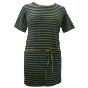 100% Cotton Classic Black & Green Stripey Dress - Fair Trade