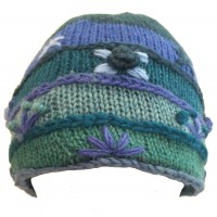 Shades of Blue Hand Embroidered Hand Knit Wool Beanie Hat - Fair Trade - Fleece Lined Toasty Warm