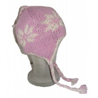 Hand Knit Wool Children's Pink Flower Earflap Hat