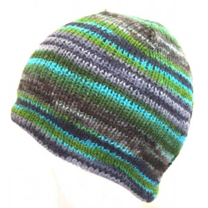 Blue Green Stripey Hand Knit Wool Beanie Hat - Fair Trade - Toasty Warm