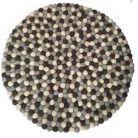 Beautiful Handmade Tactile Felt Natural Colour Ball Rug from Nepal - 60 cm diameter- 100% Wool - Fair Trade