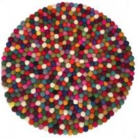 Beautiful Handmade Tactile Felt Multicoloured Ball Rug from Nepal - 60 cm diameter- 100% Wool - Fair Trade