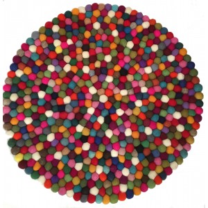 Beautiful Handmade Tactile Felt Multicoloured Ball Rug from Nepal - 60 cm diameter- 100% Wool - Fair Trade