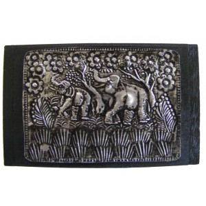 Teak Box with Hammered Metal Lid with Elephant Design - Fair Trade
