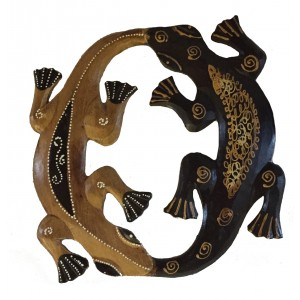 Pair of Playful Hand Painted Wooden Balinese Geckos - Fair Trade