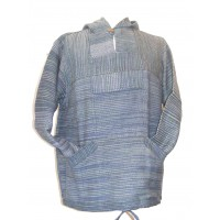 Handspun Cotton Nepalese Baja Jerga Style Hoodie - Blue / Green Stripes - Fair Trade