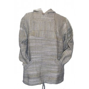 Handspun Cotton Nepalese Baja Jerga Style Hoodie - Green / White Stripes - Fair Trade