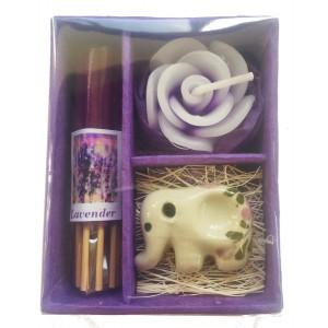 Thai Lavender Incense, Candle & Burner Gift Set - Fair Trade