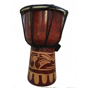 Authentic African Style 8 inch high Hand Carved Djembe Drum - Fair Trade