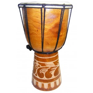 Authentic African Style 12 inch high Hand Carved Djembe Drum - Fair Trade