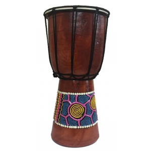 Authentic Dot Painted 6 inch high Hand Painted Djembe Drum - Fair Trade