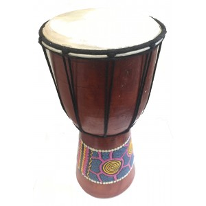 Authentic Dot Painted 10 inch high Hand Painted Djembe Drum - Fair Trade