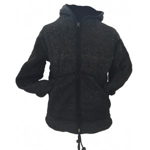 Fair Trade Charcoal Hand Knit Fleece Lined Woollen Jacket