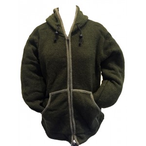 Fair Trade Forest Green Hand Knit Fleece Lined Woollen Jacket