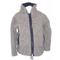 Fair Trade Natural Light Brown Hand Knit Fleece Lined Woollen Jacket
