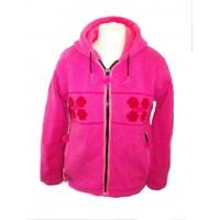 Fleece Lined Dark Pink Daisy Handknitted Woollen Jacket - Fair Trade