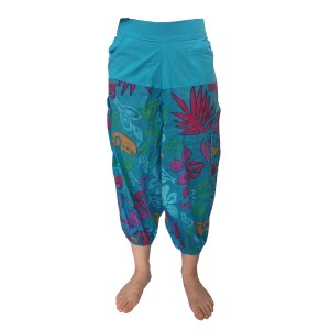 Fair Trade Bright Blue Cotton Cropped 3/4 Length Beach Trousers