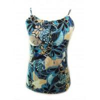Ethnic Bold Flower Print Blue & White  Natasha Strappy Top- Fair Trade 100% Cotton