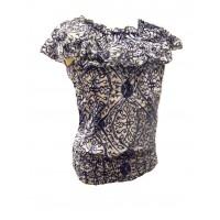 100% Floaty Cotton Ruffle Collar Blue / White Jasmine Print Blouse - Fair Trade