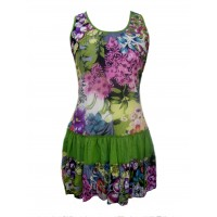 100% Floaty Cotton Short Bold Multicoloured Flower Design Pippa Sundress / Short Shift Dress - Fair Trade
