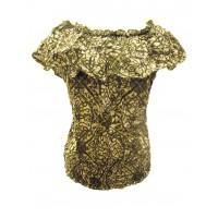 100% Floaty Cotton Ruffle Collar Green / White Jasmine Print Blouse - Fair Trade